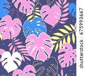 monstera leafs. seamless hand...   Shutterstock .eps vector #675993667