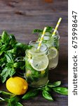 cold lemonade with basil and... | Shutterstock . vector #675998647