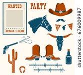 wild west stuff for cowboy... | Shutterstock .eps vector #676009987