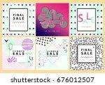 set of sale banners. memphis...   Shutterstock .eps vector #676012507