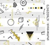 memphis seamless pattern  ...   Shutterstock . vector #676025473