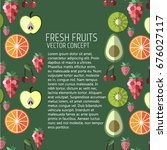 summer fruit banner . vector... | Shutterstock .eps vector #676027117