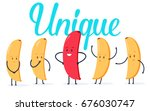 minimalist stile red banana... | Shutterstock .eps vector #676030747