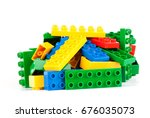 set  of color building blocks... | Shutterstock . vector #676035073