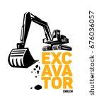 excavator emblem. vector... | Shutterstock .eps vector #676036057