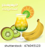 cocktail with fruits | Shutterstock .eps vector #676045123