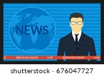 illustration.tv screen with the ... | Shutterstock . vector #676047727