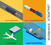 illustration. set icons freight ... | Shutterstock . vector #676047997