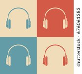headphones vector icons  retro... | Shutterstock .eps vector #676061383