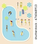 top view  summertime  holidays... | Shutterstock .eps vector #676068913