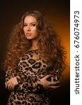 girl in leopard dress and black ... | Shutterstock . vector #676074973