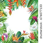 frame from tropical plants and... | Shutterstock . vector #676077133