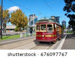 the city circle line tram in... | Shutterstock . vector #676097767