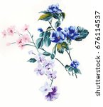 Stock photo leaves flowers watercolor draw art design 676114537