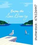 nautical poster concept. blue... | Shutterstock .eps vector #676126447