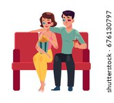 couple seating in cinema  movie ... | Shutterstock .eps vector #676130797
