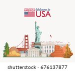 Welcome to USA. United States of America poster. Vector illustration about travel | Shutterstock vector #676137877