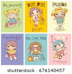 vector cards with cute fashion... | Shutterstock .eps vector #676140457