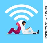 wi fi concept. young muslim... | Shutterstock .eps vector #676150507