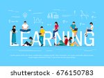 e learning concept. young... | Shutterstock .eps vector #676150783