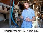 dairy farmer using digital...   Shutterstock . vector #676155133