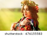 beautiful woman in colorful... | Shutterstock . vector #676155583