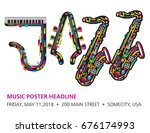 jazzy colorful music background ... | Shutterstock . vector #676174993