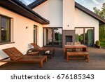 exterior view of house with... | Shutterstock . vector #676185343