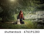 beautiful red haired girl in... | Shutterstock . vector #676191283