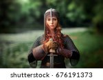 beautiful red haired girl in... | Shutterstock . vector #676191373