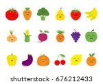 fruit berry vegetable face icon ... | Shutterstock .eps vector #676212433