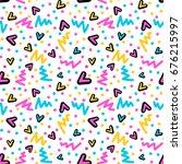 memphis style hand drawn... | Shutterstock .eps vector #676215997