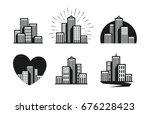 modern city logo. skyscraper ... | Shutterstock .eps vector #676228423