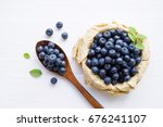 Fresh  Blueberries In A Cup An...