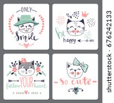 vector card series with cute... | Shutterstock .eps vector #676242133
