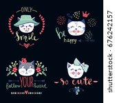 vector card series with cute... | Shutterstock .eps vector #676242157
