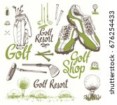 golf set with basket  shoes ... | Shutterstock .eps vector #676254433