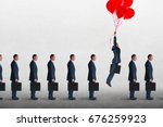 Small photo of entrepreneurial business concept businessman rising above a queue of businessmen with helium balloons