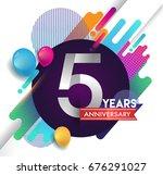 5 years anniversary logo with... | Shutterstock .eps vector #676291027