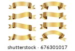 set of golden ribbons on white... | Shutterstock .eps vector #676301017