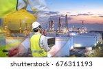 double exposure engineers... | Shutterstock . vector #676311193