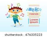 small boy playing thrombone... | Shutterstock .eps vector #676335223