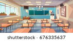 empty school class room... | Shutterstock .eps vector #676335637