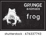 Silhouette Frog In Grunge...