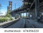 railroad and  railroad bridge... | Shutterstock . vector #676356223
