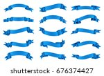 ribbon banner set.vector blue... | Shutterstock .eps vector #676374427