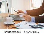 businessman using smart phone... | Shutterstock . vector #676401817
