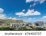 port louis skyline   viewed... | Shutterstock . vector #676403737