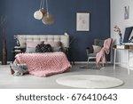 dark grey comfy armchair with... | Shutterstock . vector #676410643