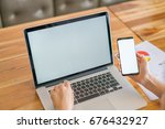 business woman hand with... | Shutterstock . vector #676432927